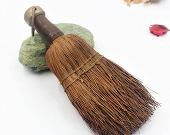 Vintage handmade broom - Antique whisk - Metal Handle Table Brush - Crumb Sweeper Broom - table crumb sweeper brush. Barber Shop Tools
