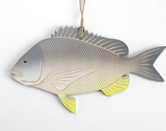 Silver Sea Bream Fish Christmas Ornament