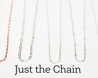 Chain Necklace, Brass Copper Silver Gold Chain, Just the Chain, Simple Chain Necklace, Customize Necklace, Cable Chain, Curb Chain