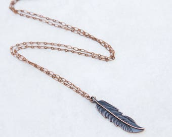 Copper Feather Necklace, Feather Necklace, Boho Necklace, Layering Necklace, Feather Pendant, Large Feather, Pendant Feather, Feather Etsy