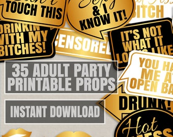 35 Adult Party props, adult drinking Props, funny adult photo booth props, printable funny party props, gold and black, fun adult props