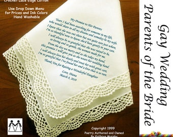 Gay Wedding ~ Parents of the Bride Gift From New Daughter in Law L114A Title, Sign & Date Free! Printed Wedding Hankie Mother in Law Gifts