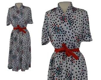 Vintage Dress, 1980s, 80s Dress, Polka Dot Vintage Dress, Henry Lee, Secretary Dress, Polka Dot Dress, Business Dress, Union Made, Small