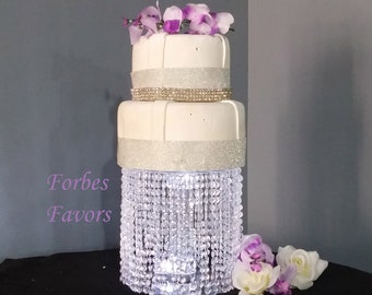 Single Acrylic Plastic Bead Cake Stand with Battery LED Light
