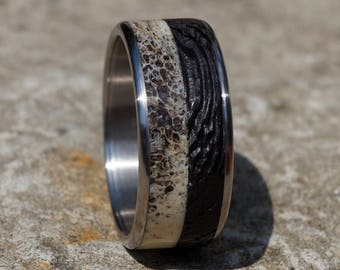 Deer antler and wenge wood titanium ring