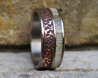 Natural deer antler and hammered copper titanium band ring