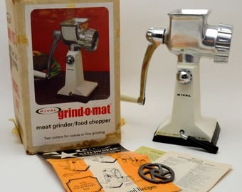 Vintage Meat Grinder / Food Chopper, Rival Grind O Mat, Model 303, Complete With Box, Instructions, 1970s
