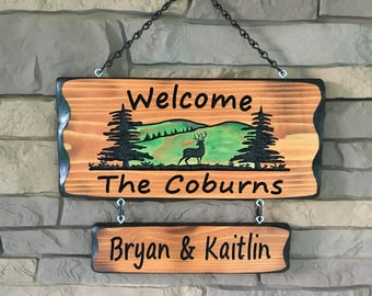 Camping Sign with trees and mountains