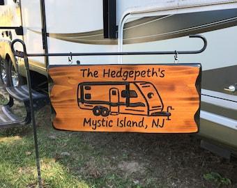 Camping Sign RV Custom Name Sign