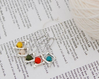 Stitch markers for knitting, non snag, pack of five