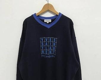 On Sale 20% Off Vintage YSL YvesSaintLauren Pour Homme Sweatshirt,YSL Big Logo,YSL Spell Out