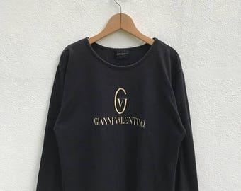 "20% OFF Vintage Gianni Valentino Embroidery Logo Long Sleeve Shirt / Gianni Valentino Women Shirt / Spell Out / Big Logo / Armpit 20.5"""