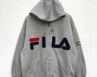 20% OFF Vintage Fila Big Logo Hoodie Zipper Jacket Fleece Lining / Fila Italia / Fila Hoodie / Fila Biella Italia / Fila Tennis