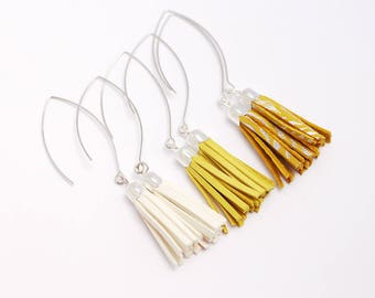 yellow and silver leather tassel earrings, silver plated
