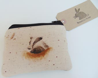 Handmade Badger Coin Purse, Wrendale Designs fabric, Country Animals Coin Wallet