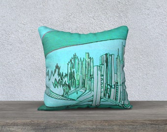 Art Print City pillow cover - Pillow Case, Mélanie Bernard Art