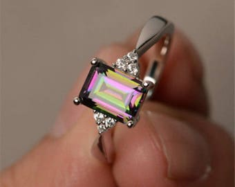 Mystic Topaz Sterling Silver Ring 8