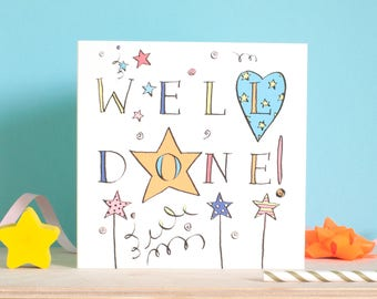 Well Done Greeting Card,Congratulations card, well done passing your exams, on graduation, achieving your goal card by Inkpaintpaper