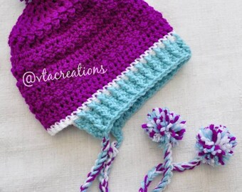 Pompom Beanie with braids, slightly slouchy, pick your colors