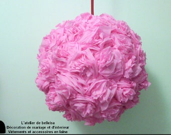 Pink hanging crepe paper flower ball