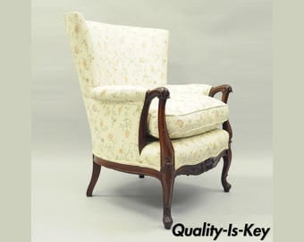 Antique French Louis XV Style Hollywood Regency Mahogany Wing Back Arm Chair