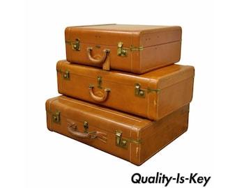 3 Vintage Mid Century Hanco Large Brown Leather Hard Luggage Suitcases Retro