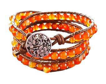 Carnelian Bracelet, Carnelian Jewelry, Bohemian Bracelet, Boho Bracelet, Gypsy Jewelry, Wrap Bracelet, Wrap Bracelet Beaded, Beaded Bracelet