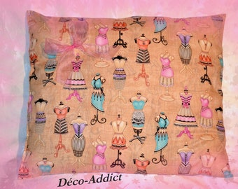 Cotton - designer fabric - Mademoiselle models theme pillow