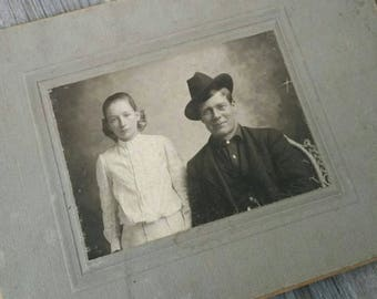 Antique Victorian cabinet card photo of a father and daughter