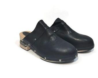 RESERVED Black clog sandals, black wooden clogs, 70s vintage clogs, deadstock clogs, black clogs for women Eu 37.5 USA 6.5 UK 4.5