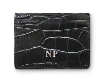 Embossed Genuine Croc Leather Card Holder Black Initials Personalised Monogram