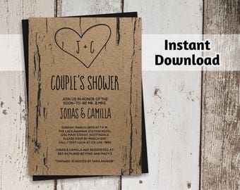 Printable Couples Shower Invitation Template - Bridal, Wedding, Rustic Tree, Carved Initials, Kraft Paper, Instant Download Digital File PDF