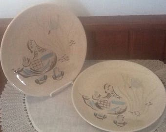 """Vintage, Red Wing, Bob White, Two 10 3/4""""  Dinner Plates, Hand Painted"""