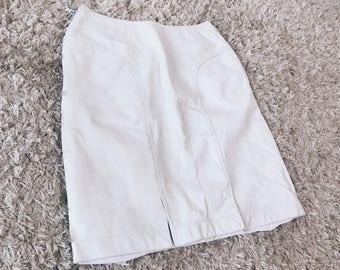 90's White Leather Skirt