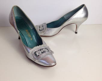 60s Womens 6.5 N Silver Pumps Party Shoes Johnasen High Heels