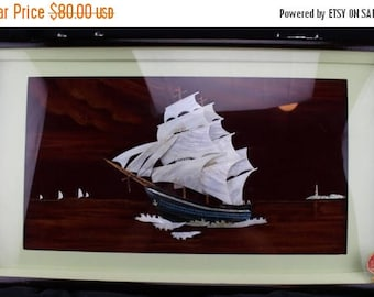 Summer Vintage Asian Shadow Box Wall Hanging Mother Of Pearl Ship on Black Velvet