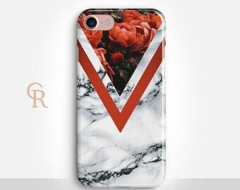 Floral Marble Phone Case For iPhone 8 iPhone 8 Plus iPhone X Phone 7 Plus iPhone 6 iPhone 6S  iPhone SE Samsung S8 iPhone 5 Samsung S7 Edge