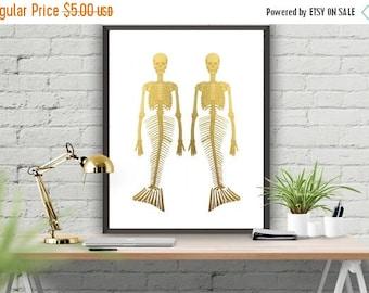 SALE Mermaid Skeleton Printable Gold Decor Skeleton Art Poster Gold Poster Home Decor Office Decor Wall Poster