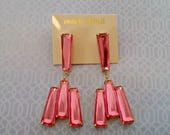 Vintage Dangle Earrings, Hot Pink Rectangle Rhinestone Drop Earrings, Pierced, Never Worn, On Original Card, Circa 1980s, Includes Gift Box