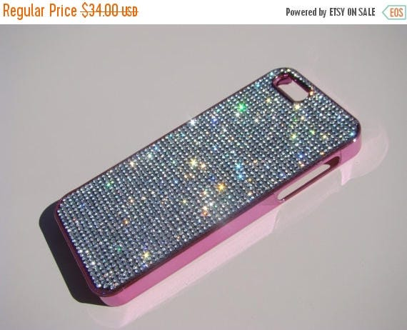 Sale iPhone 5 / 5s / 5se Clear Diamond Crystals on Pink Electro Plated  Case. Velvet/Silk Pouch Bag Included, Genuine Rangsee Crystal Cases.