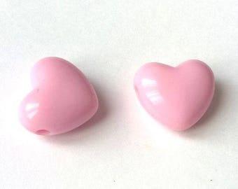set of 2 large beads 18 mm - Rose embossed heart light