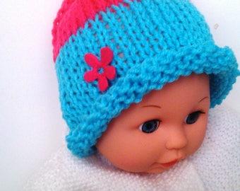 Hat newborn baby 0/1 month bicolor wool Turquoise Blue & raspberry flower - handmade new