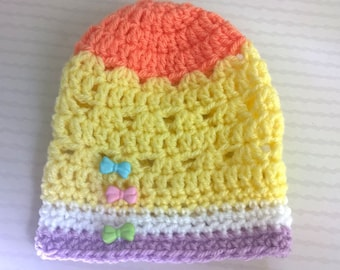 Hat 12-18 months - unique Rainbow wool