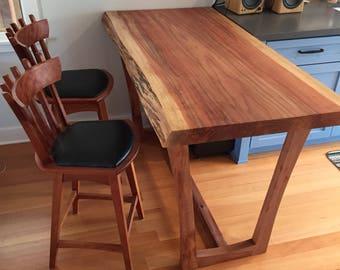 Redwood Kitchen Island Table with Kochlacs Wood Base