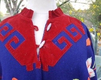 Mexican 1960s 1970s Hand Embroidered and Hand Woven Cotton and Wool Poncho with Aztec Neckline in Velvet One Size