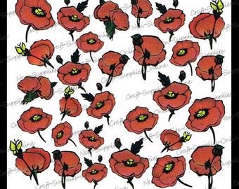Flowers of red poppies - M500 transfers
