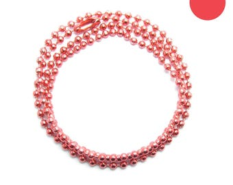 NECKLACE 60cm ball chain 2.2 mm Red D water