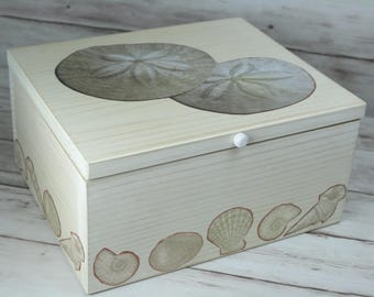 Sale!  5.00 off.  In Stock! Ships Immediately. Decorative Storage or Jewelry Box, Sand Dollars, Seashells, Beach, Ocean