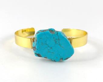 Turquoise Cuff, Raw Stone Bracelet, Raw Crystal Cuff, Howlite, Raw Gemstone Bracelet, Boho bracelet, Healing Stone, Wire Wrapped