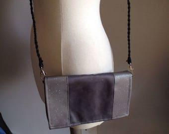 "Grey suede and ""Swarovski"" shoulder bag"